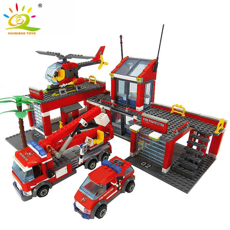 Блоки Игрушки 774 шт. модель пожарной станции строительные блоки Legoing Город Строительство пожарный грузовик Обучающие Кирпичи игрушки для детей