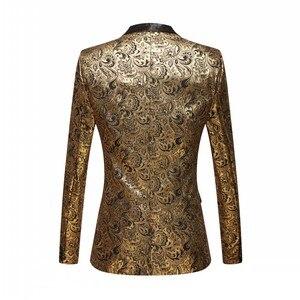 Image 5 - Mannen Vergulde Zwarte Kraag Pak Set Bruiloft Gouden Bloemen Patroon Slim Fit Party Prom Dress Tuxedo Zangers Kostuum jas