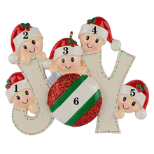 Joy Family Members of 5 Personalized Christmas Holiday Ornaments