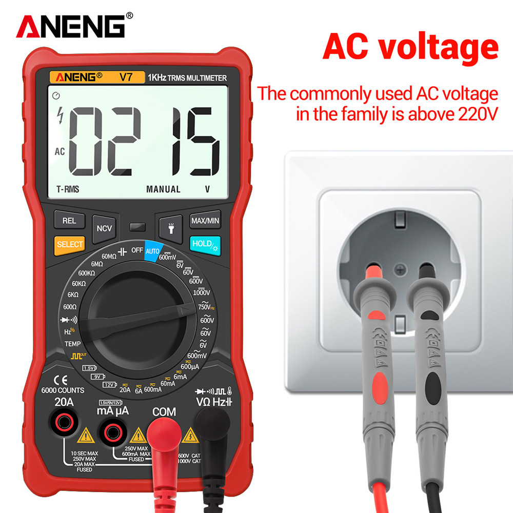 Tools : ANENG V7 Digital Multimeter 6000 Counts Avometer Transistor Capacitor Tester Multimetro Digital Profissional Lcr Meter Multimetr