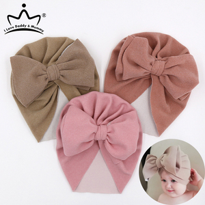 Spring Baby Hats for Girls Big Bow Turban Hat Newborn Photography Props Infant Baby Beanie Cap Solid Color Baby Girl Hat(China)