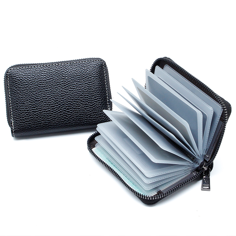 2019 New High Quality Leather Organizer Business RFID Credit Card Holder Minimalist Women Travel Card Bag Men Male Small Wallet