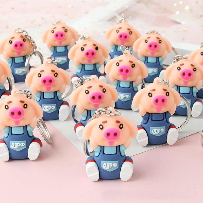 1pc Porco Dos Desenhos Animados Boneca Chaveiro Chave Anel de Presente Para As Mulheres Meninas Bolsa Pingente Figura Encantos Chaveiros Jóias