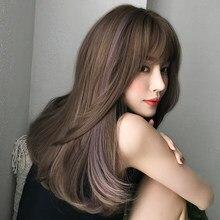 Длинные прямые коричневые светильник-розовые высосветильник ые s волосы синтетический парик с челкой для женщин новейшие весенние осенние ...