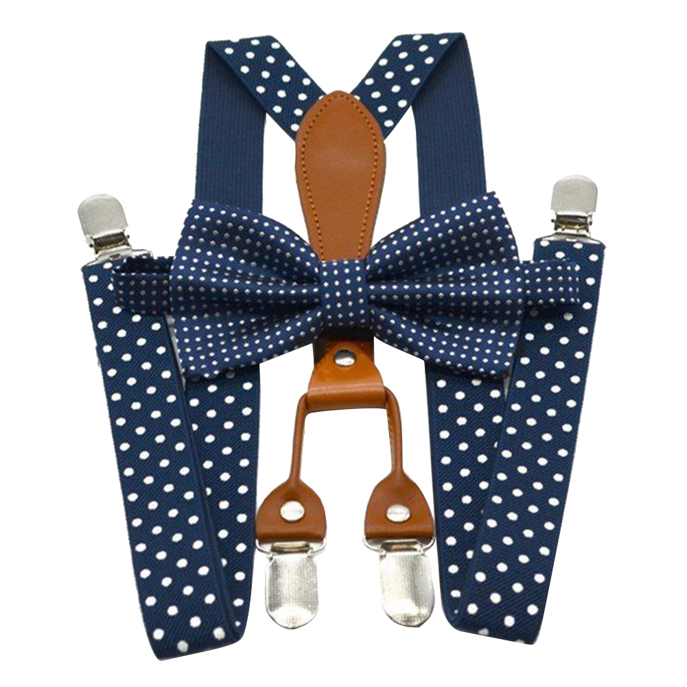 Party Adult Wedding Bow Tie Navy Red For Trousers Alloy Button Braces Elastic Adjustable Suspender 4 Clip Polka Dot