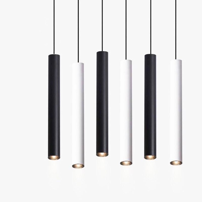 Cilindro pode ser escurecido led luzes pingente longo tubo lâmpadas cozinha sala de jantar loja barra decoração cabo pingente lâmpada luzes fundo