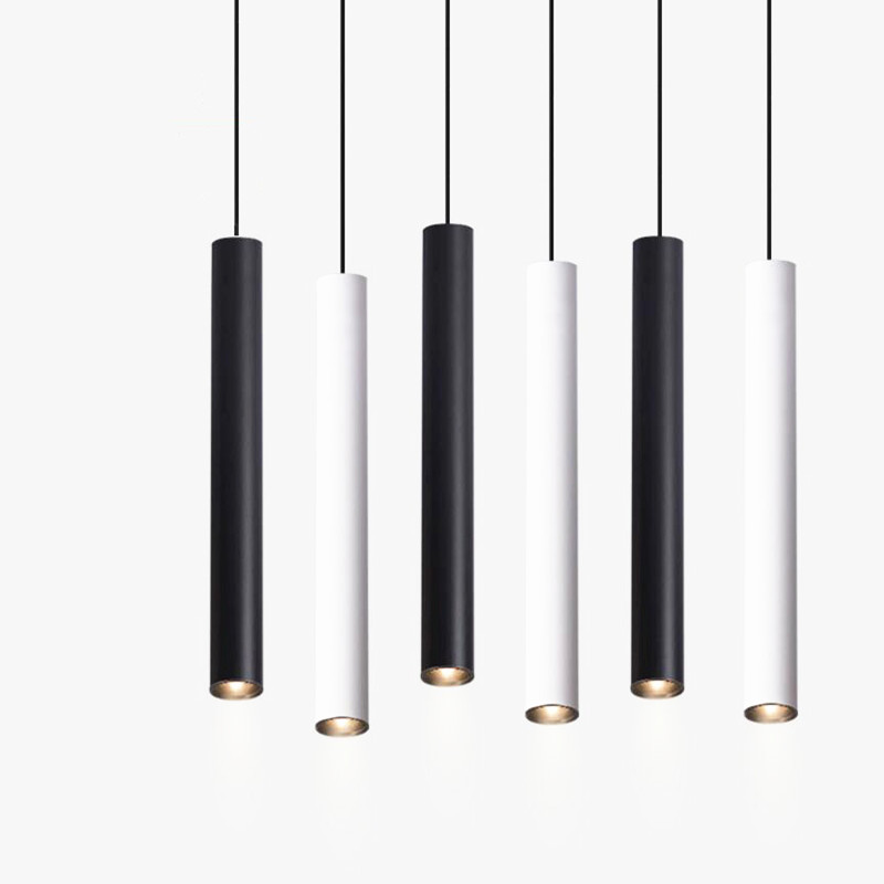 Dimmable Cylinder LED Pendant Lights Long Tube Lamps Kitchen Dining Room Shop Bar Decoration Cord Pendant Lamp Background Lights