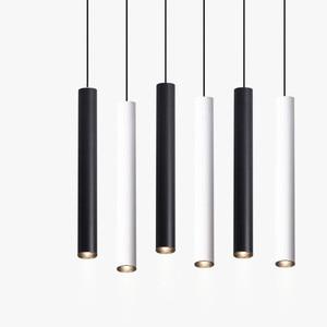 Image 1 - Luces colgantes LED de cilindro regulable, lámparas de tubo largo, decoración de cocina, comedor, tienda, Bar, cordón, lámpara colgante, luces de fondo