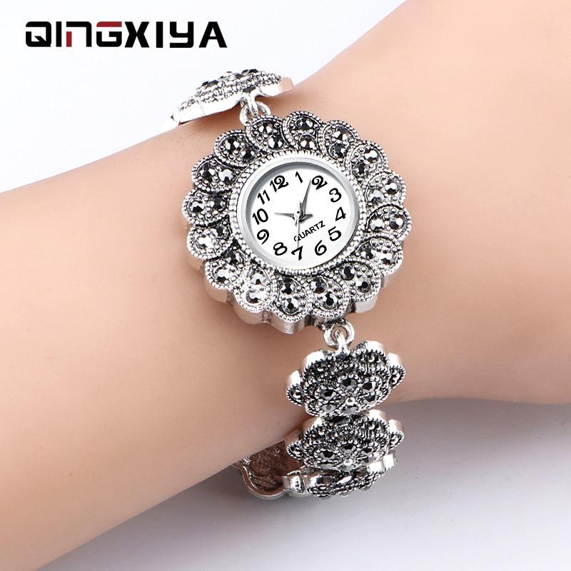 QINGXIYA Women Watches Luxury Brand Fashion Casual Ladies Watch Women Quartz Diamond Lady Silver Bracelet Wrist Watches Women