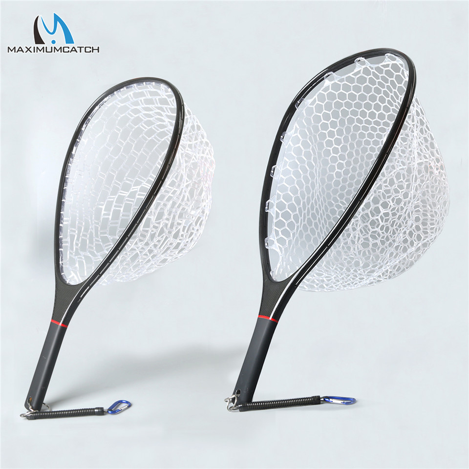 Maximumcatch Fly Fishing Landing Net Solid Carbon Fiber Frame Nomad Hand Strong & Light Clear Rubber Net