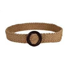 Модный хлопковый и пеньковый широкий пояс, тканый ремень с юбочкой, декоративный ремень с деревянной пряжкой, ширина 4,5 см