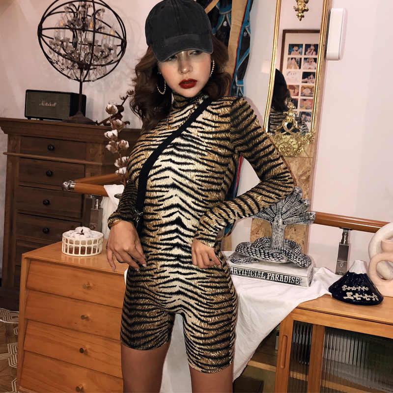 2020 Nieuwkomers Vrouwen Winter Sexy Lange Mouw Tijger Streep Leoard Coltrui Bodycon High Street Bodysuits