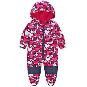Image 5 - Childrens soft shell plus velvet integrated windproof and rainproof jumpsuit Childrens waterproof jumpsuit, warm jumpsuit,