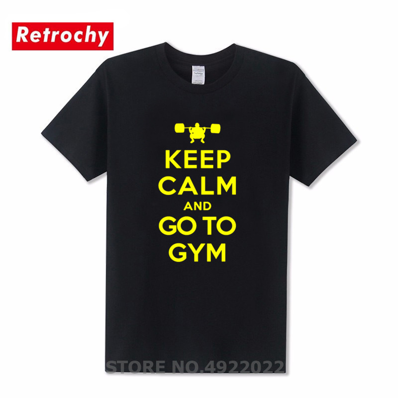 Funny Printed Keep Calm And Go To Gym T-Shirt Fashion Fitness Men's Tshirt New Stylish Running Workout Pre-Cotton T Shirt Hombre image
