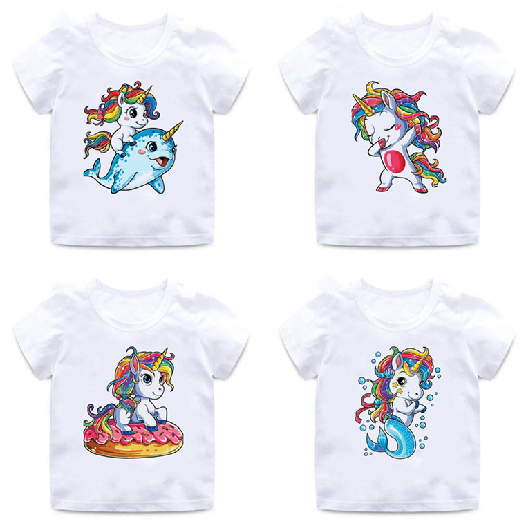 Unicorn Mermaid Print Kids T Shirt For Boys/girls 2 To 12 Years Ballet Dancer Unicorn Donut Casual Cotton T-shirt Top,BAL030