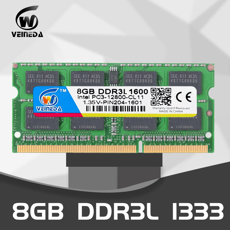 VEINEDA Laptop <font><b>ddr3l</b></font> 1333 8gb <font><b>4gb</b></font> PC3-10600 1600MHz PC3-12800 1.35V 204PIN Sodimm Ram Compatible Intel <font><b>ddr3L</b></font> image