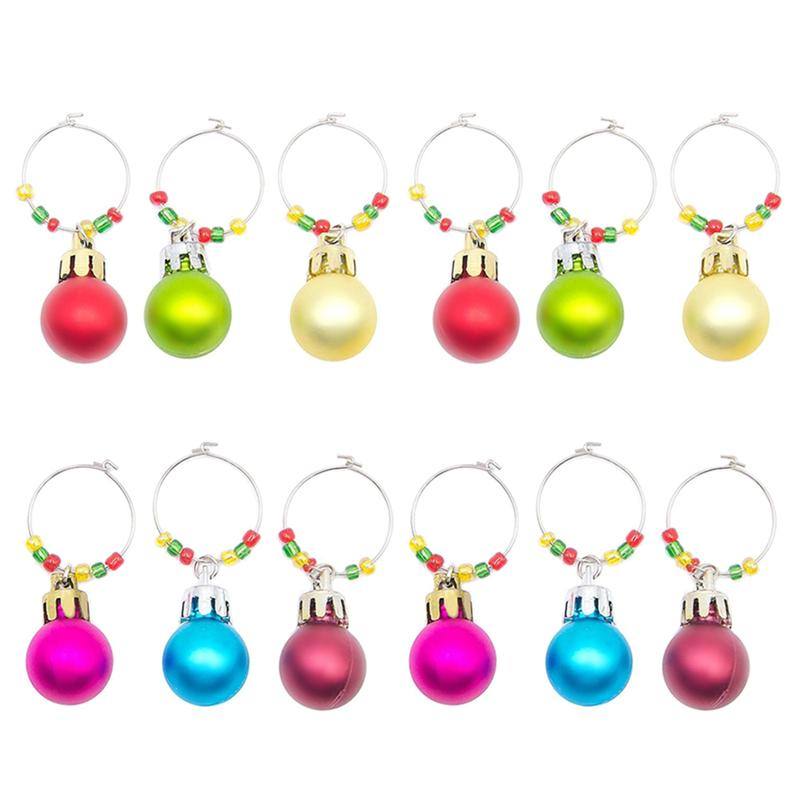 12 Pcs Wine Glass Marker Cute Christmas Plastic Ball Creative Cup Sign Drinking Cup Identifier For Champagne Cocktails