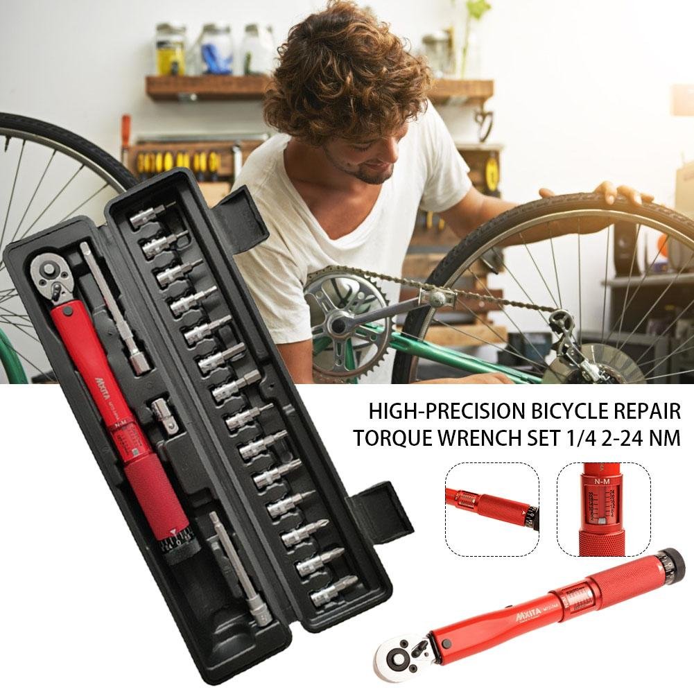 18pcs 1/4 Inch 2-24Nm Torque Wrench Set Bicycle Torque Kick Wrench Tool Adjustable Bicycle Repair Tool Outdoor Sporting Goods