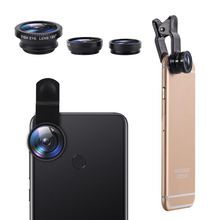 3-in-1 Wide Angle Macro 180° Fisheye Lens Camera Kits Mobile Phone Fish Eye Lenses with Clip 0.67x for iPhone Samsung Xiaomi