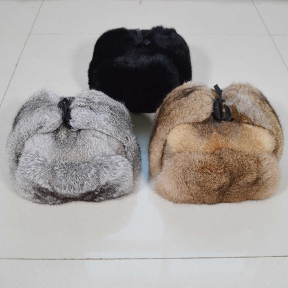 Handmade ผู้ชายฤดูหนาวขนสัตว์กระต่ายจริง BOMBER หมวกกลางแจ้ง Super WARM 100% ขนสัตว์กระต่ายธรรมชาติหมวก Full Pelt ของแท้กระต่ายหมวกขนสัตว์