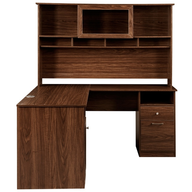 Home Office L-Shaped Desk With Hutch And Glass Doors 3