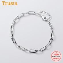 Trustdavis Minimalist 925 Sterling Thai Silver Fashion 4mm Chain Bracelet For Women Wedding Birthday S925 Jewelry Gift DA1305