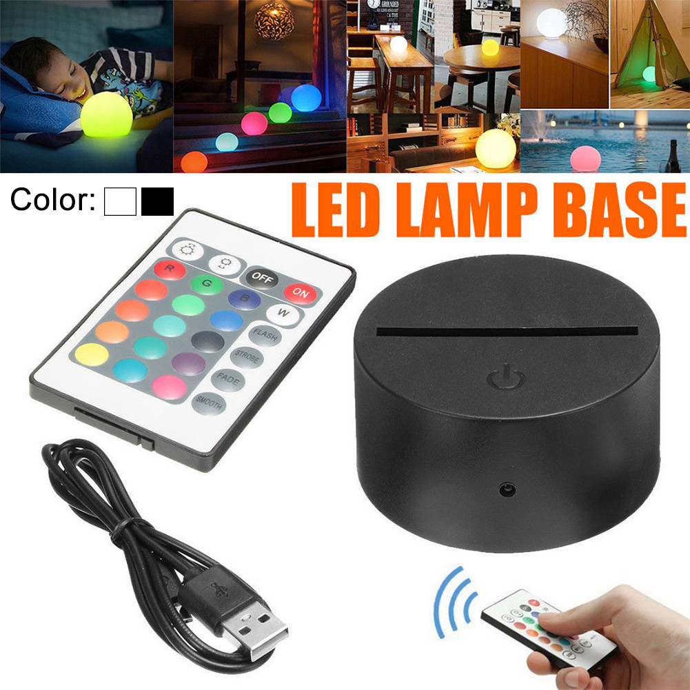 Lightweight Remote Control 3D Blocking Night Light Gift Acrylic Modern Led USB Cable Base