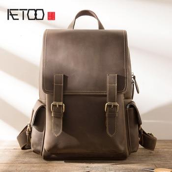 AETOO Leather men's shoulder bag, stylish retro mad horse leather bag, large-capacity multi-function travel computer backpack цена 2017