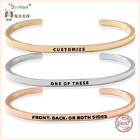SG 925 Silver Inspirational Bracelet Personalized Customize Engraved Letter Bracelet&Bangle For Women Fashion Jewelry 2019 New.