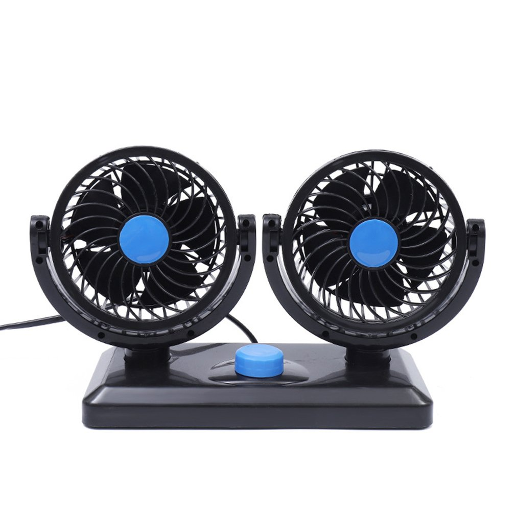 360 Rotating Free Adjustment Dual Head USB Cooling Air Fan Car Cooling Swing Dashboard Ventilation Fan Air Circulator