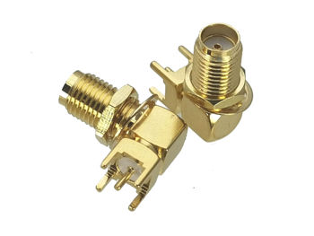 10Pcs Connector SMA Female jack Bulkhead Nut Right angle Solder PCB Mount RF Adapter Coaxial High Quanlity