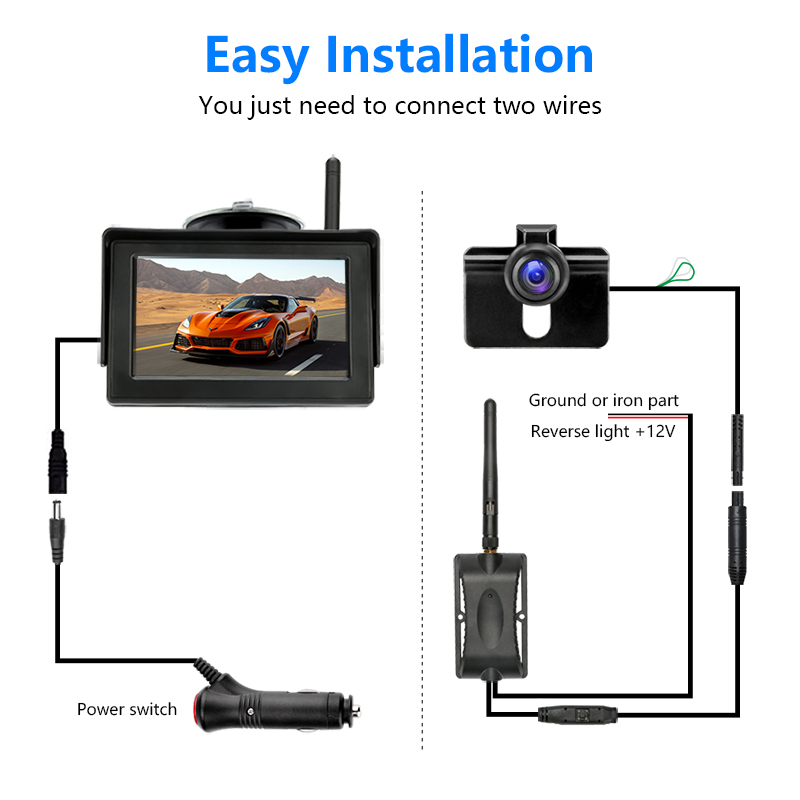 Jansite Backup-Camera Monitor Reversing-Camera Wireless LCD TFT with for Car