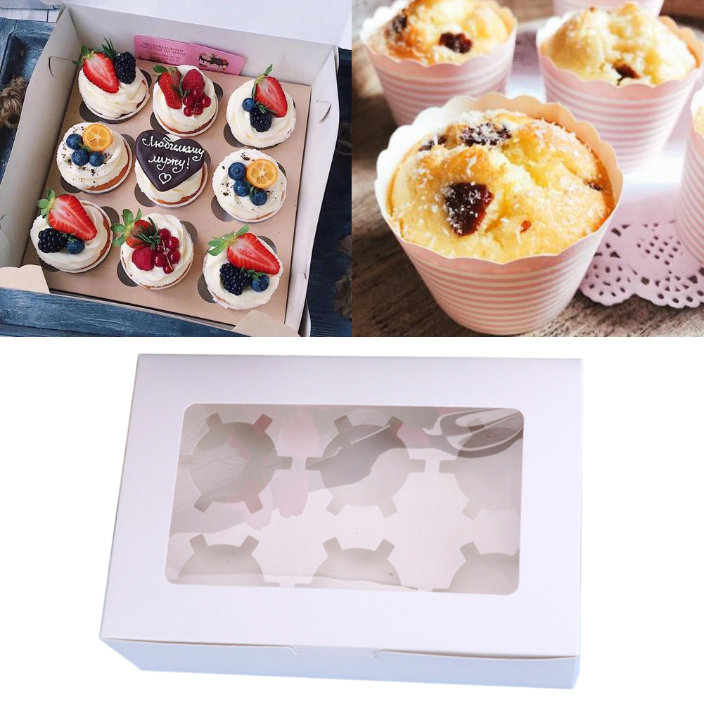 10pcs Packaging Cupcake Box Clear Window Dessert Birthday Wedding Party Gift Case Bakery Display Muffin Paperboard 2 4 6 Holes