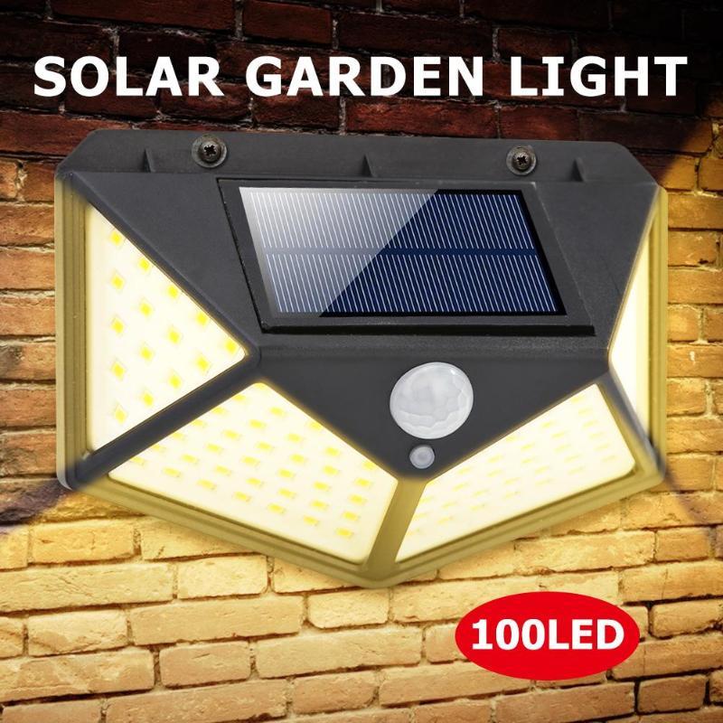 Warm White 100 LED Solar Light IPR Motion Sensor Wall Light Outdoor Lighting Waterproof Garden Solar Lamp Yard Security Lamp