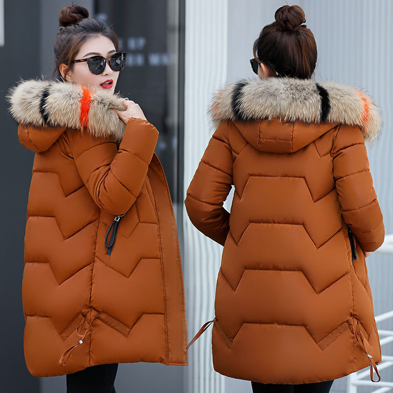 Women Coat Hooded Winter   Parkas   2019 New Women's Jacket Fur Collar Outerwear Female Down Cotton Wadded Warm Thick Long Coat 253