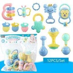 12 шт./компл. детские погремушки, игрушки для детей от 0 до 12 месяцев, мультфильм, ручной захват, мягкие погремушки, шейкер, Прорезыватель для з...