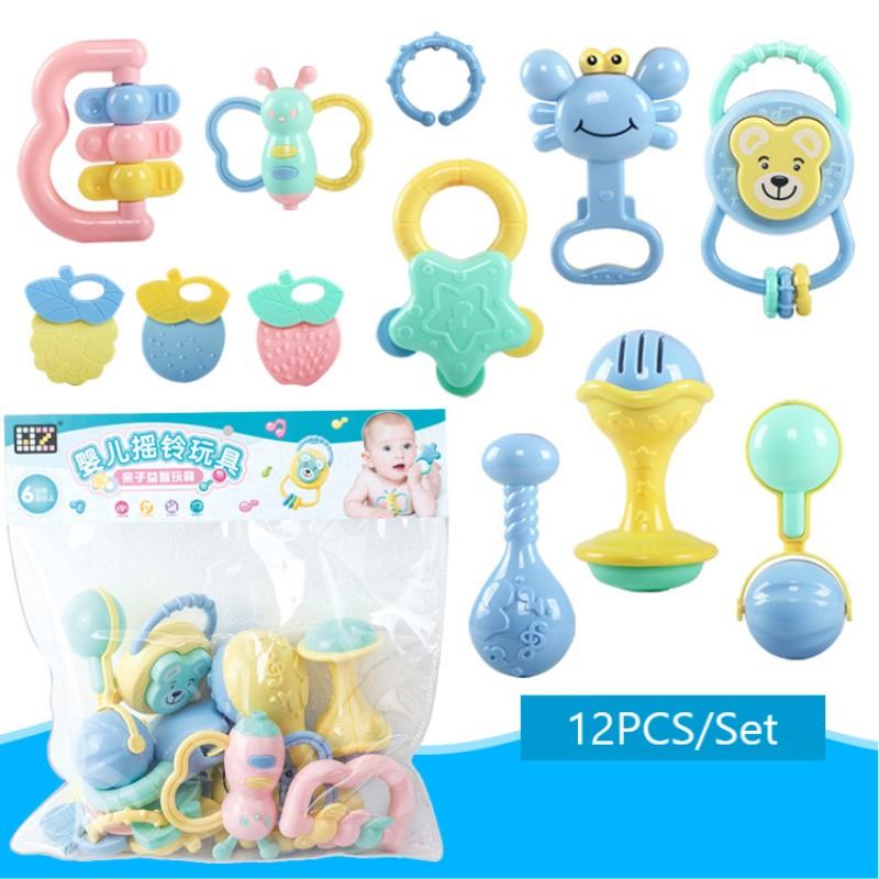 12 pièces/ensemble bébé hochet jouets 0-12 mois Jouet Bebe dessin animé main poignée doux hochets Shaker dentition infantile nouveau-né jouets éducatifs