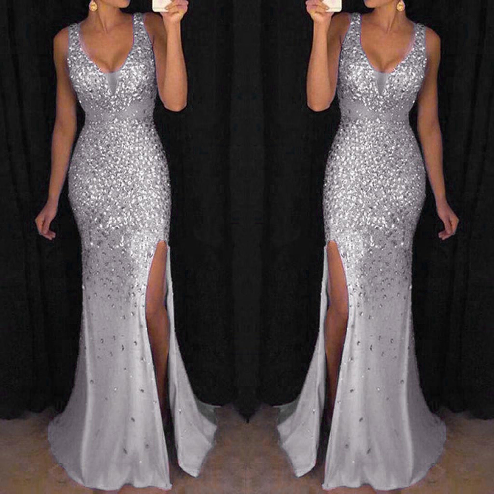 4# Women Sequin Dresses Prom Party Ball Gown Sexy Gold Evening Bridesmaid V Neck Long Dress Spaghetti Strap Dresses Sukienka