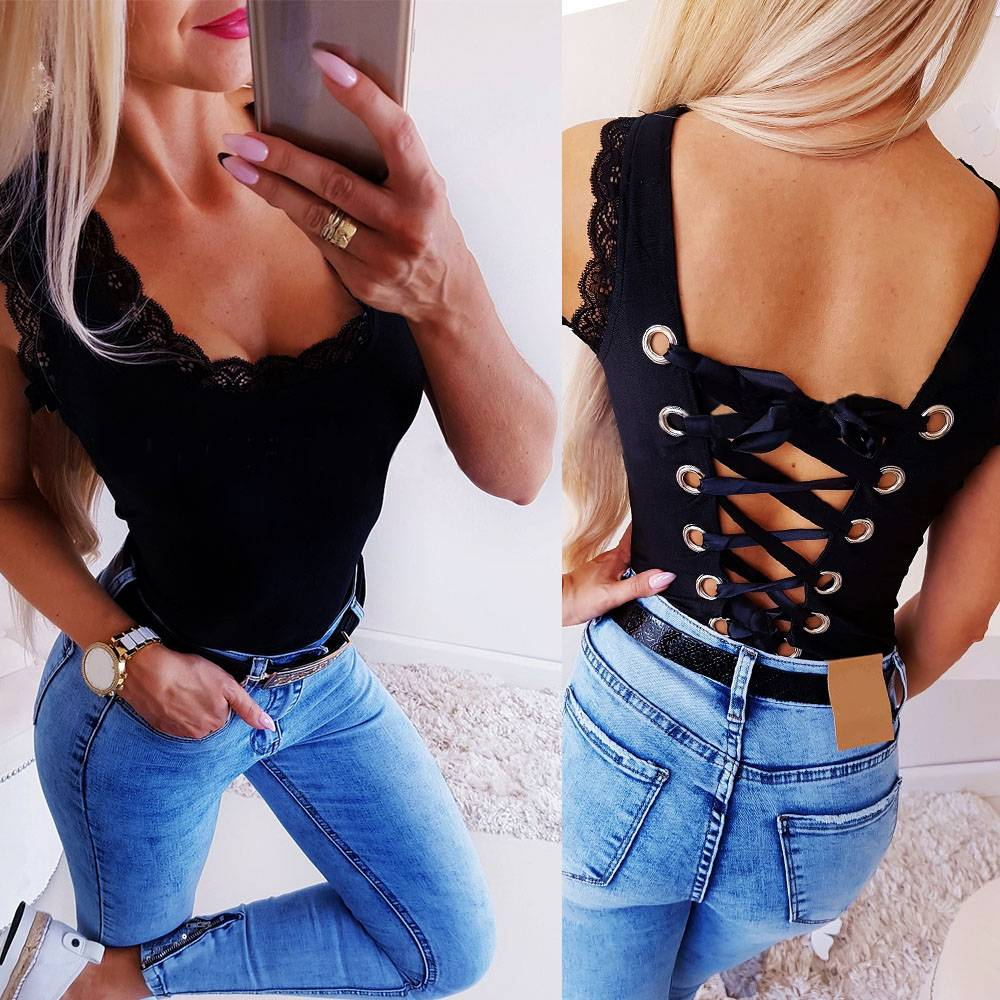 2019 Sexy Black Sleeveless Lace Patchwork Backless Bandage Women Bodysuit Romper and