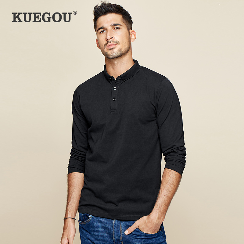 KUEGOU 2019 Autumn Cotton Black Plain Button Polo Shirt Men Fashions Long Sleeve Slim Fit Poloshirt Male Clothes Brand Top 3524