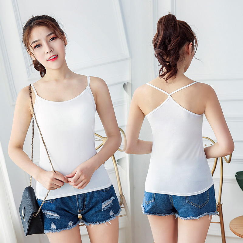 Sexy Women Tank Crop Top Solid Underwear Fashion Solid Female Crop Tops Lingerie Intimates with Removable Padded Camisole 2020 4