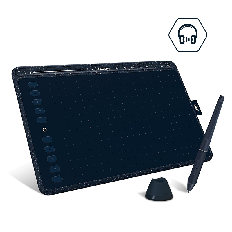 HUION HS611 Graphic Tablet 8192 Levels Digital Drawing Tablets Express/Multimedia Keys Bar Battery-Free Pen With Tilt Function