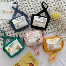 Contrasting Color Girls' Small Bag Cute and Simple Embroidered Letters Student Cross-body Bag Purse  Cross Body Bag Woman