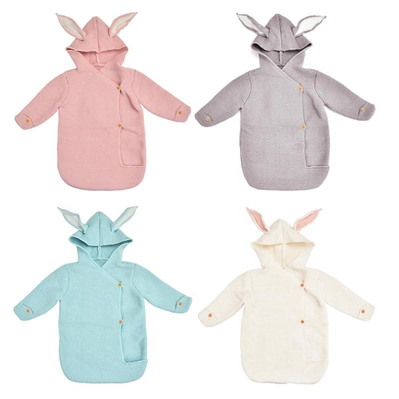 Infant Rabbit Ear Hooded Blanket Sleeping Bag Swaddling Baby Toddler Props