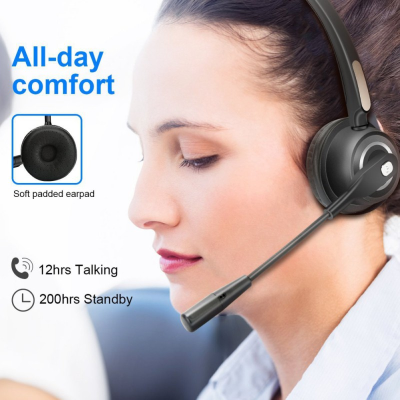Call Center Bluetooth Headphone with Mic BH520 Wireless Earphone Over-the-Head Noise Canceling Headset For Truck Car Drivers