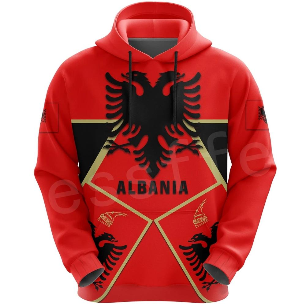 Tessffel Newest Albania Country Flag NewFashion Pullover Long Sleeves Funny Tracksuit Unisex 3DPrint Zipper/Hoodies/Jacket A-7