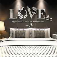 3D Leaf LOVE Stylish Wall Sticker Art Vinyl Decals Acrylic Mirrored Decor Bedroom Living Room Decor Removable Sticker Decoration