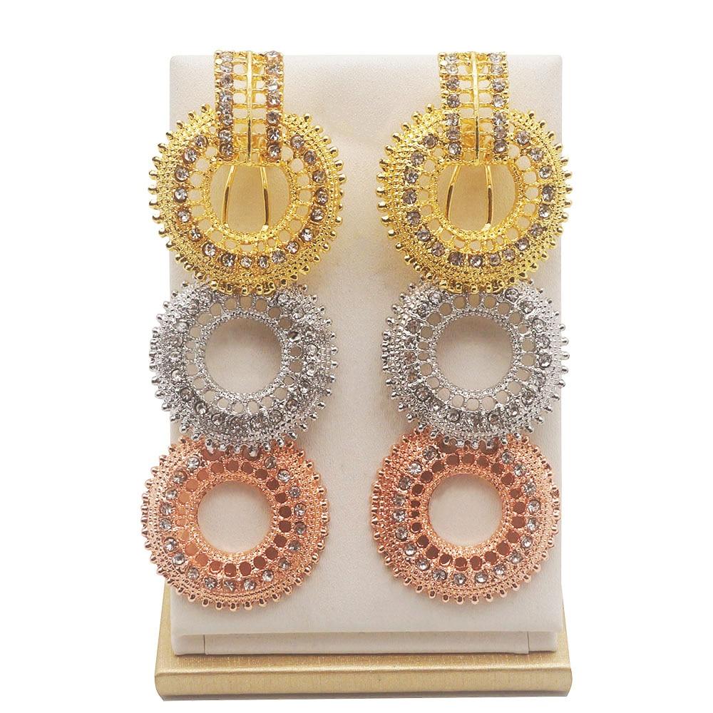 Women Hoop Earrings 3 Circles Wedding Jewelry Rhinestone Gold Plated