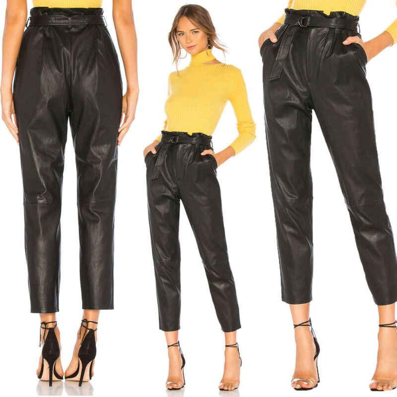 Women Paperbag Trousers Highwaist Harem Pants Stretch Elastic Waist Casual OL UK
