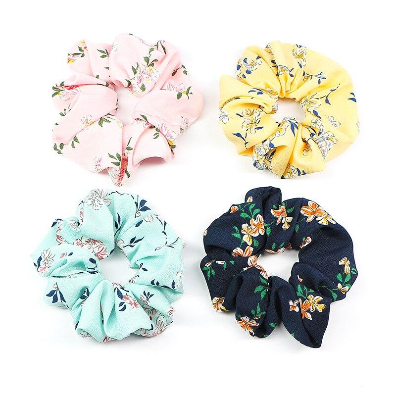 Venta de envío directo para mujeres bandas elásticas de goma para el cabello Rosa Scrunchies Escolar niñas Floral accesorios para el cabello Año Nuevo Schrunchies
